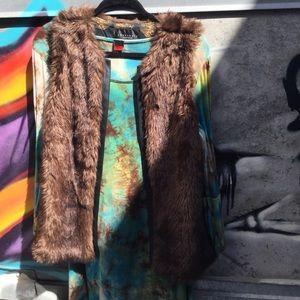 Faux Fur Vest With Faux Leather Trim